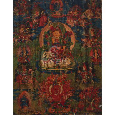 A Thangka of Vaisravana, Sino-Tibetan, 18th Century, 十八世紀 漢藏 多聞天王唐卡, 28 x 21.2 in — 71.1 x 53.8 cm