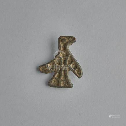 A Rare Nestorian Christian Bronze Bird Seal, Yuan Dynasty, 元 罕見基督教銅鳥印章, length 2 in — 5.1 cm
