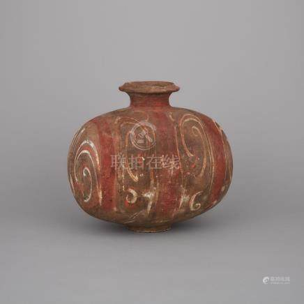A Polychrome Decorated Black Pottery 'Cocoon' Jar, Han Dynasty, 漢 蠶繭形彩陶燈籠罐, height 10 in — 25.4 cm