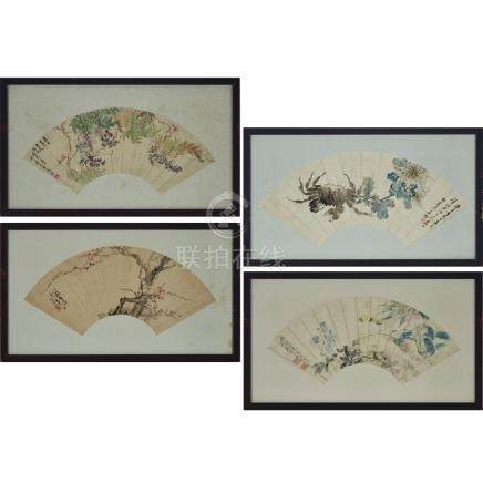 A Group of Four Chinese Fan Paintings, 紫藤菊蟹臘梅雀上枝頭扇面一組四件 設色紙本 鏡框, width 22 in — 55.9 cm (4 Pieces)