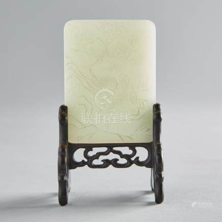 A Rectangular White Jade Plaque Mounted on a Stand, 白玉松下人物撫琴詩文硯屏, 3.1 x 2.4 in — 8 x 6 cm