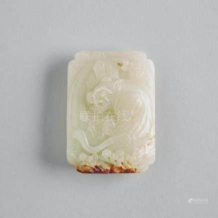 A White Jade Belt Buckle, Yuan Dynasty, 元 白玉帶皮猛虎下山帶鉤, length 2.6 in — 6.7 cm