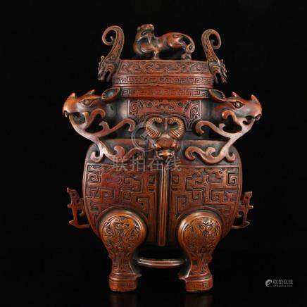 Chinese Red Copper Beast Head Incense Burner