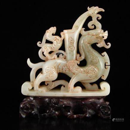 Vintage Chinese Hetian Jade Fortune Unicorns Statue