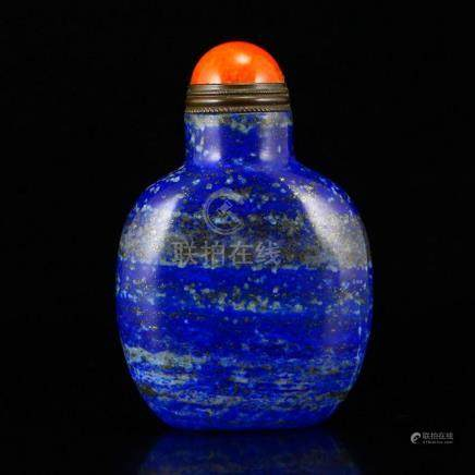 Chinese Lapis Lazuli Snuff Bottle w Red Agate Lid