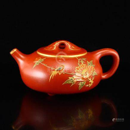 Chinese Gilt Gold Relief Yixing Zisha Clay Teapot w Artist S