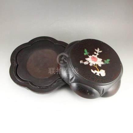 Vintage Chinese Duan Inkstone w Zitan Wood Box