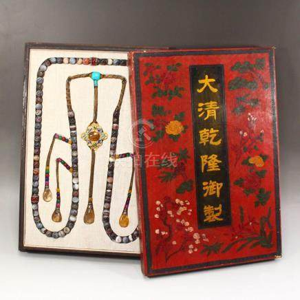 Chinese Qing Dy Agate & Crystal Court Beads Necklace w Lacqu