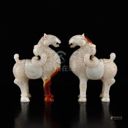 A Pair Chinese Han Dynasty Hetian Jade Horse Statues