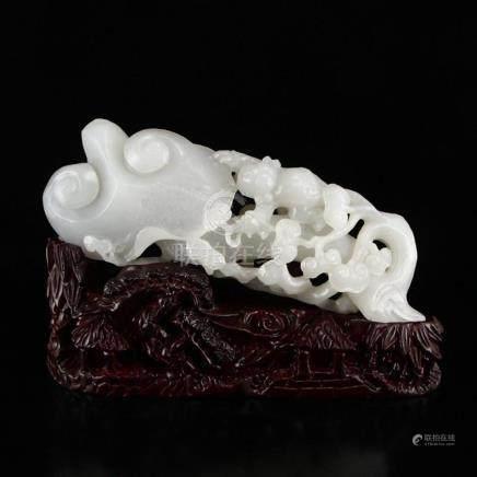 Openwork Chinese White Hetian Jade Ruyi Kid Statue
