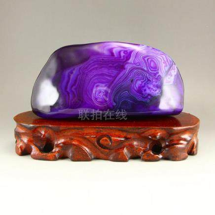 Beautiful Chinese Natural Purple Agate Original Stone Statue