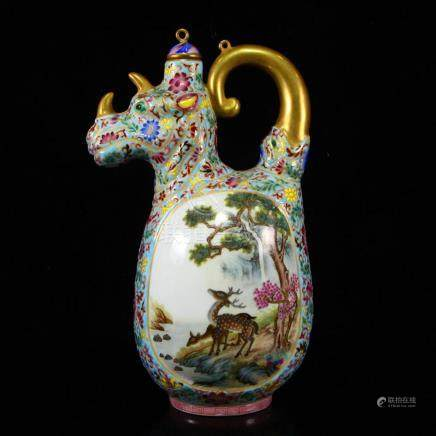 Chinese Gilt Gold Famille Rose Porcelain Wine Pot