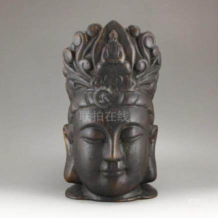 Vintage Chinese Chen Xiang Wood Buddha Head Statue
