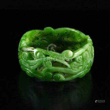 Inside Diameter 59 mm Openwork Chinese Green Hetian Jade Bra