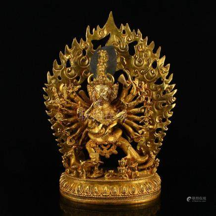 Vintage Tibetan Buddhism Gilt Gold Red Copper Vajrabhairava