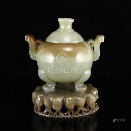 Superb Chinese Hetian Jade Double Ears 3 Legs Incense Burner