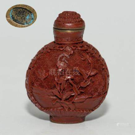 ANTIQUE CHINESE 19thC CINNABAR LAQUER SNUFF BOTTLE