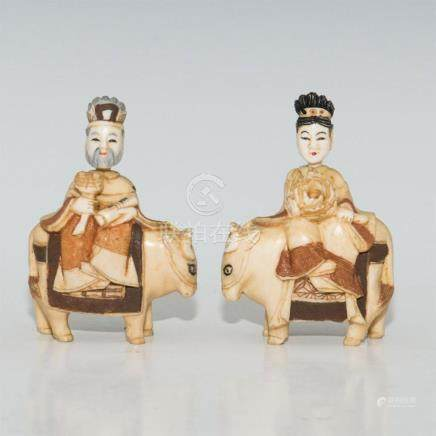 PAIR ANTIQUE JAPANESE CARVED BONE FIGURAL SNUFF BOTTLES