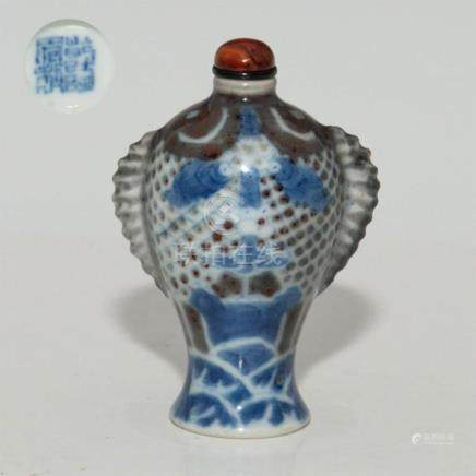 ANTIQUE CHINESE 18thC QIANLONG PORCELAIN SNUFF BOTTLE