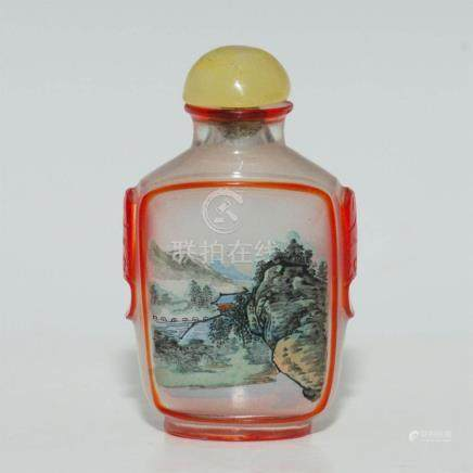 ANTIQUE CHINESE REVERSE PAINTED GLASS SNUFF BOTTLE