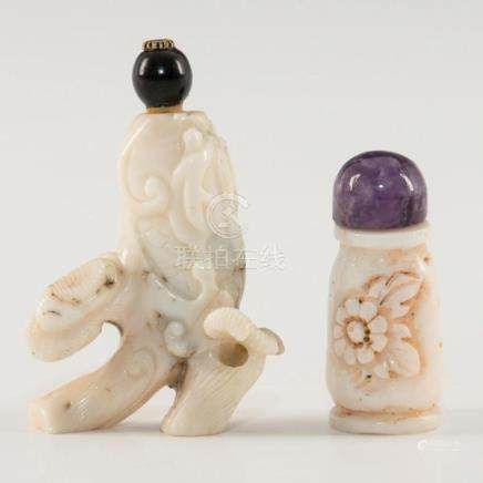 GROUP OF 2 ANTIQUE CHINESE CARVED WHITE CORAL SNUFF