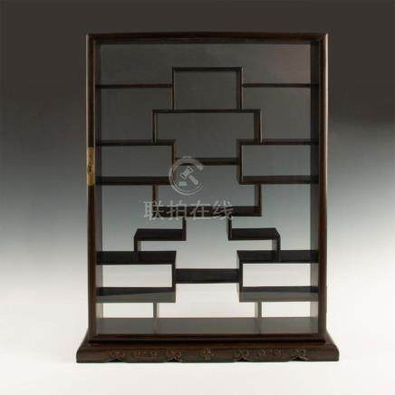 CHINESE WOOD DISPLAY CASE SHADOW BOX