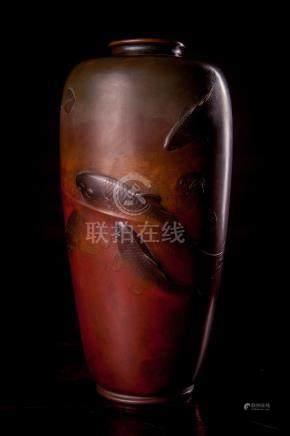 Meiji Bronze Vase