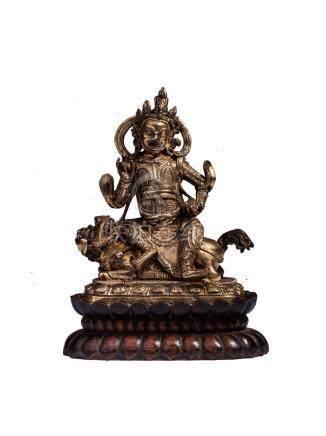清代 銅鎏金財寶天王像