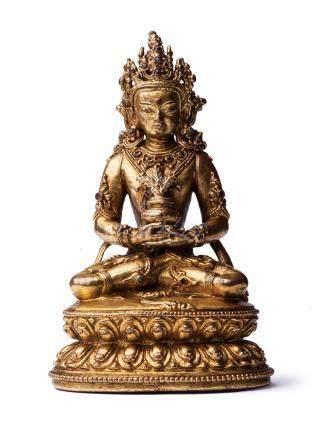 明代 銅鎏金無量壽佛像