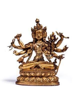 清代 銅鎏金尊勝佛母像