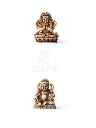 明代 牙雕四臂觀音像;黃財神像