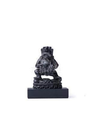 西藏 元代 黑石雕黑財神像