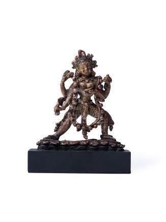 尼泊爾 15世紀 銅鎏金四臂瑜珈母像