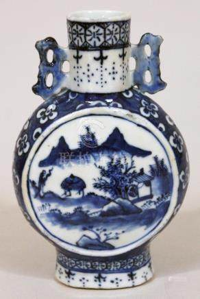A Chinese porcelain moon flask, 19th century, height 16cm. Condition - hairlines to handles and