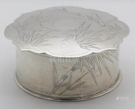 White metal lidded pot with banboo decoration, diameter 10cm