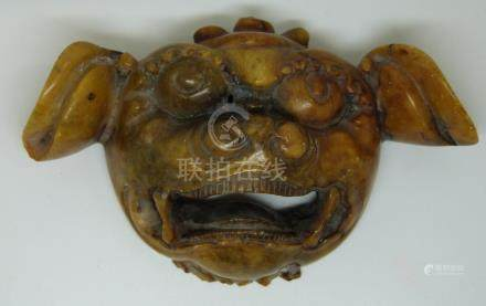 Oriental carved soapstone Dog of Fo mask