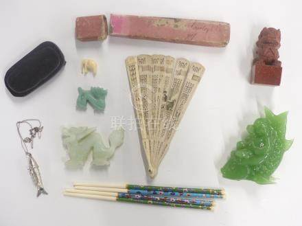 A carved bone fan, hardstone carvings, sunstone carving, cloisonné chopsticks etc