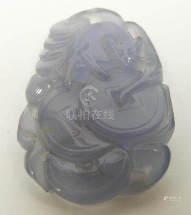 Chinese lavender jade carving depicting a rat and coins, length 5cm