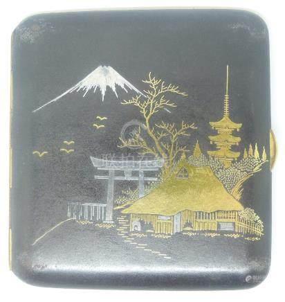 Japanese inlaid cigarette case with decoration of mount Fuji, birds etc, 8.5 x 8cm