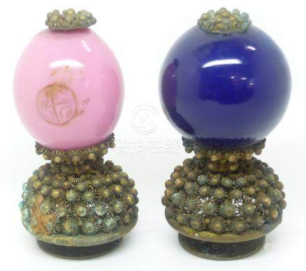 Two Chinese glass hat finials, height 5.5cm