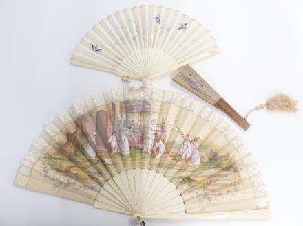 Two Chinese fans including a carved bone examples, largest 24cm, with embroidered decoration and