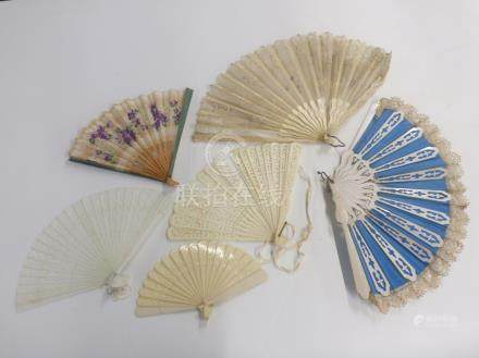Six various fans including bone, lace and hand painted examples