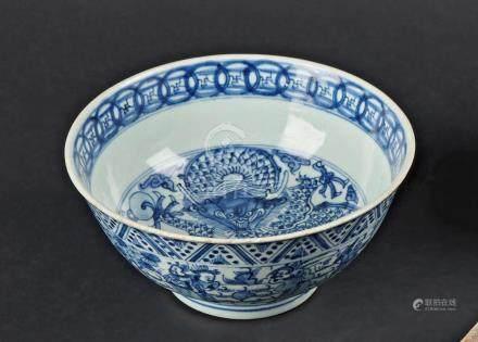 § CHINE - Epoque KANGXI   (1662 - 1722)Bol en porcelaine décorée en bleu sous c