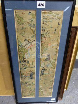 A PAIR OF CHINESE SILK FIGURAL SLEEVE BANDS FRAMED AS ONE.