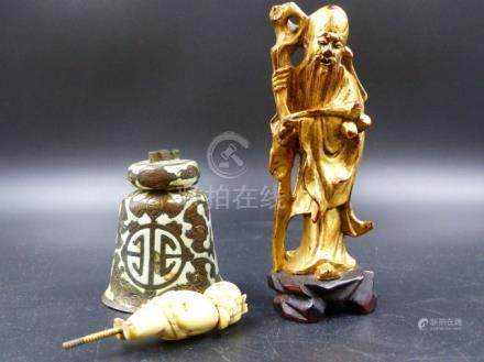 A CHINESE ENAMELLED BELL WITH IVORY BOY AS HANDLE TOGETHER WITH A GILT WOOD FIGURE OF SHOULAO. H.
