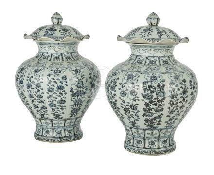 Pair of Chinese Blue and White Covered Urns