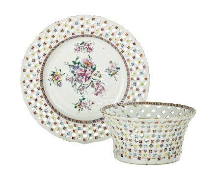 Chinese Export Porcelain Fruit Bowl & Underplate