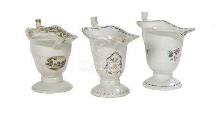Three Chinese Export Porcelain Cream Jugs
