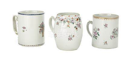 Three Chinese Export Porcelain Canns