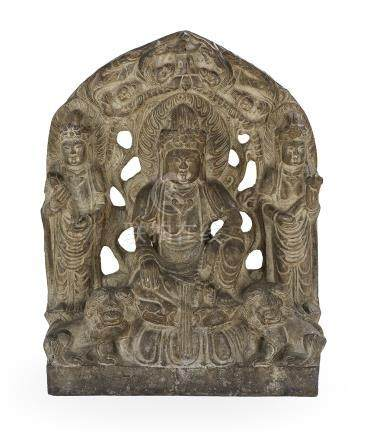 Chinese Carved Stone Buddhist Stele